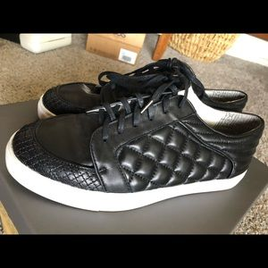 Matt Bernson Black Quilted Leather Sneakers